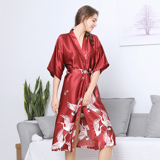 0fcd6e611b Summer Red Sexy Women Bridesmaid long Satin Bride Robe Lace silk Wedding  Sleepwear Female Bathrobe Lingerie Clothes Home girls-in Robes from  Underwear ...