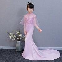 Индивидуальные платье с русалочкой Платье в цветочек для девочек для свадебное платье Бисер Девушки платье для Вечеринка платье длиной хво
