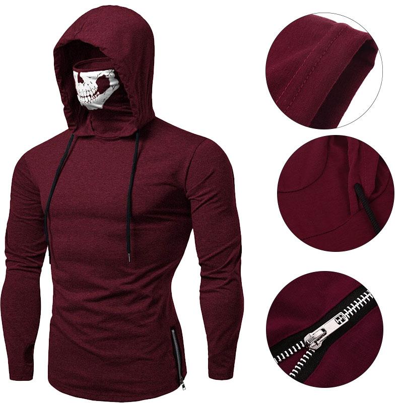 Модная футболка с длинными рукавами с черепом, Готическая Повседневная Спортивная футболка с капюшоном, уличная крутая Мужская футболка для путешествий