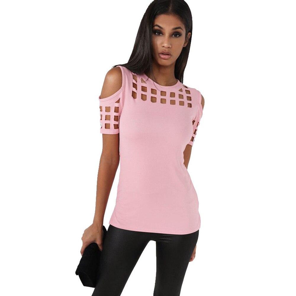HTB1BJMNOFXXXXX1XVXXq6xXFXXX8 - T-shirts Women Fashion Off The Shoulder Hollow Out Short Sleeve