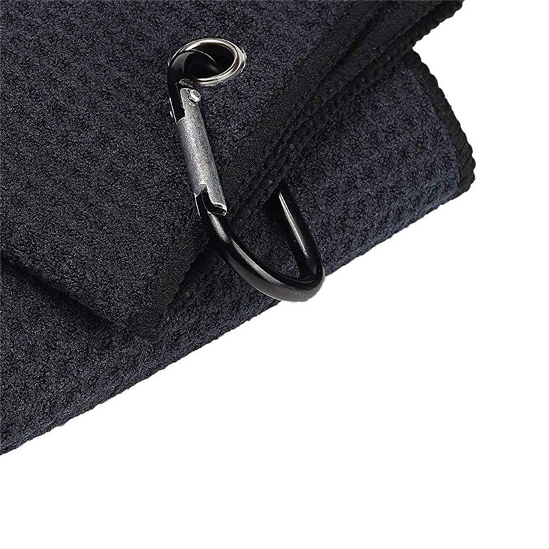 Image 3 - New Black 32*40cm  Cotton Golf Towel Cleaning Sport Towel Comfort Washcloth Golf Towels With Bag Hook Golf Training Aids-in Golf Training Aids from Sports & Entertainment