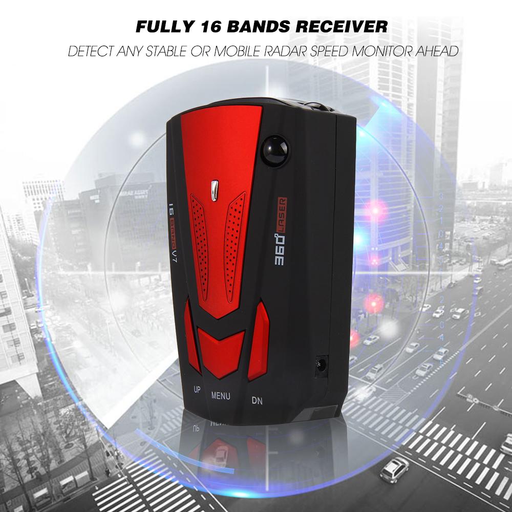 Prix pour Nouveau Détecteur De Radar De Voiture 16 Bande Voix Alerte V7 Anti Détecteur de Radar Affichage LED 360 Degrés Testing System Speed Car