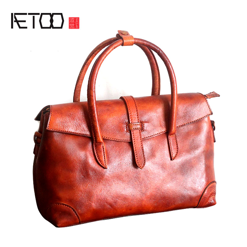 AETOO The new retro fashion female bag head cowhide shoulder handbag female original hand rub color leather bag