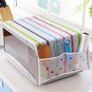 DusSimple Microwave Oven Cover Kitchen Oil Dust Waterproof Double Pockets Kitchen Accessories Supplies Home Decoration
