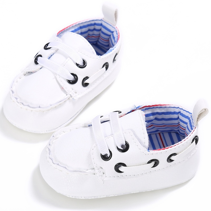 Kid Boys Girls Casual PU Lace Up First Walkers Non-slip Soft Bottom Baby Spring Solid Color Cack Shoes