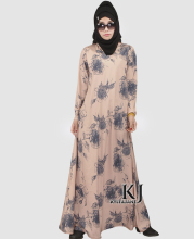 Fashion Muslim Dress Abaya in Dubai Islamic Clothing For Women Muslim Abaya Jilbab Djellaba Robe Musulmane Kahki Print Dress