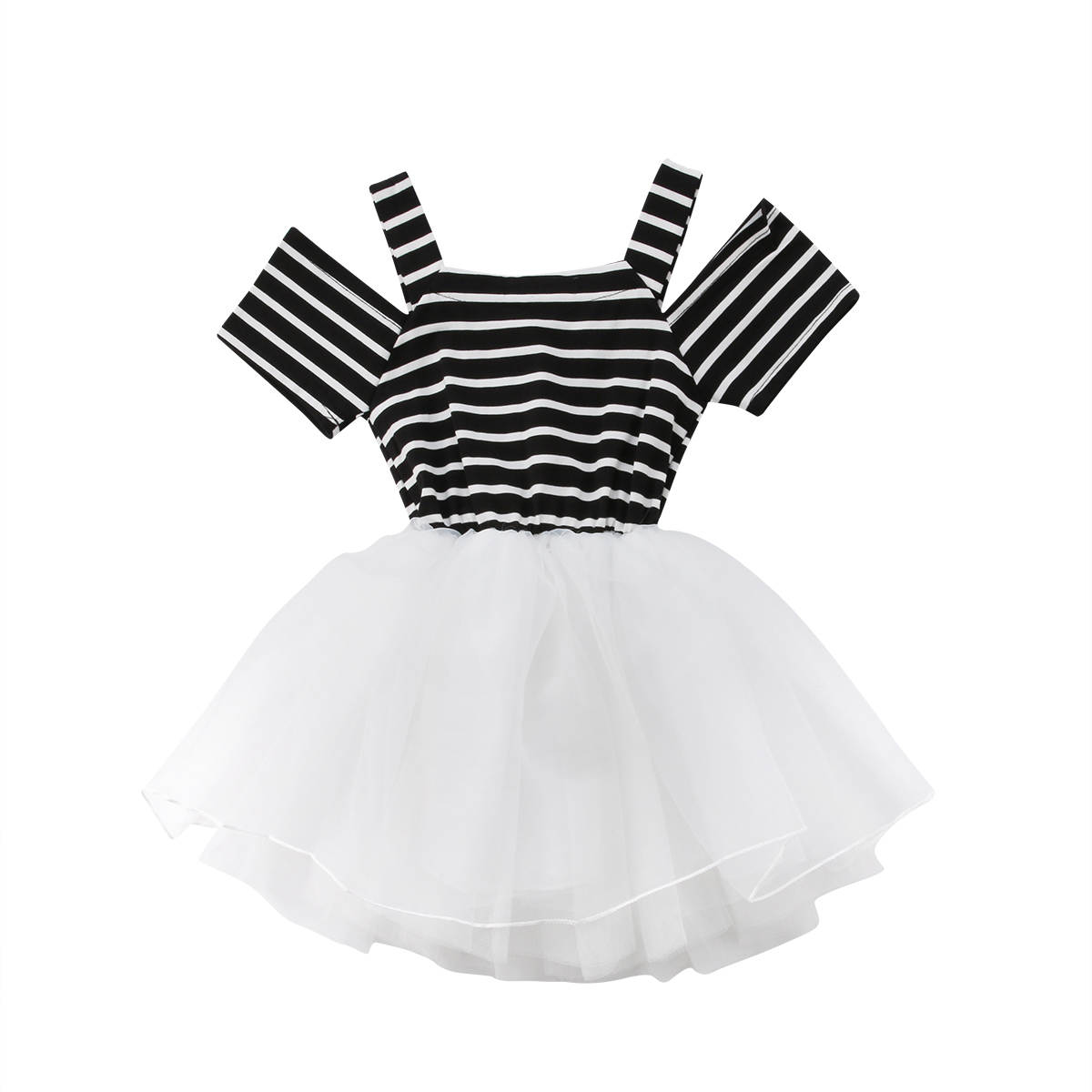 NEWEST 2018 HOT SALE Toddler Baby Girls Short Sleeve Black White Striped Princess Ball Gown Dress 0-5Y