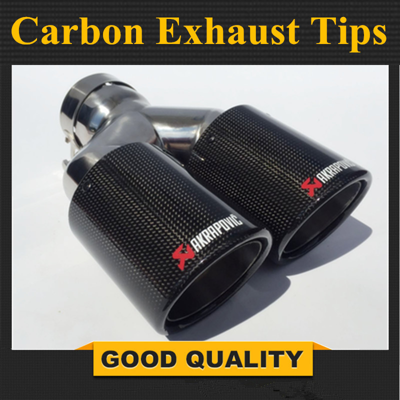 One Piece Car Styling Akrapovic Car Glossy Carbon Exhausts Dual Tips Universal AK Glossy Carbon Dual End Pipe Muffler Pipes