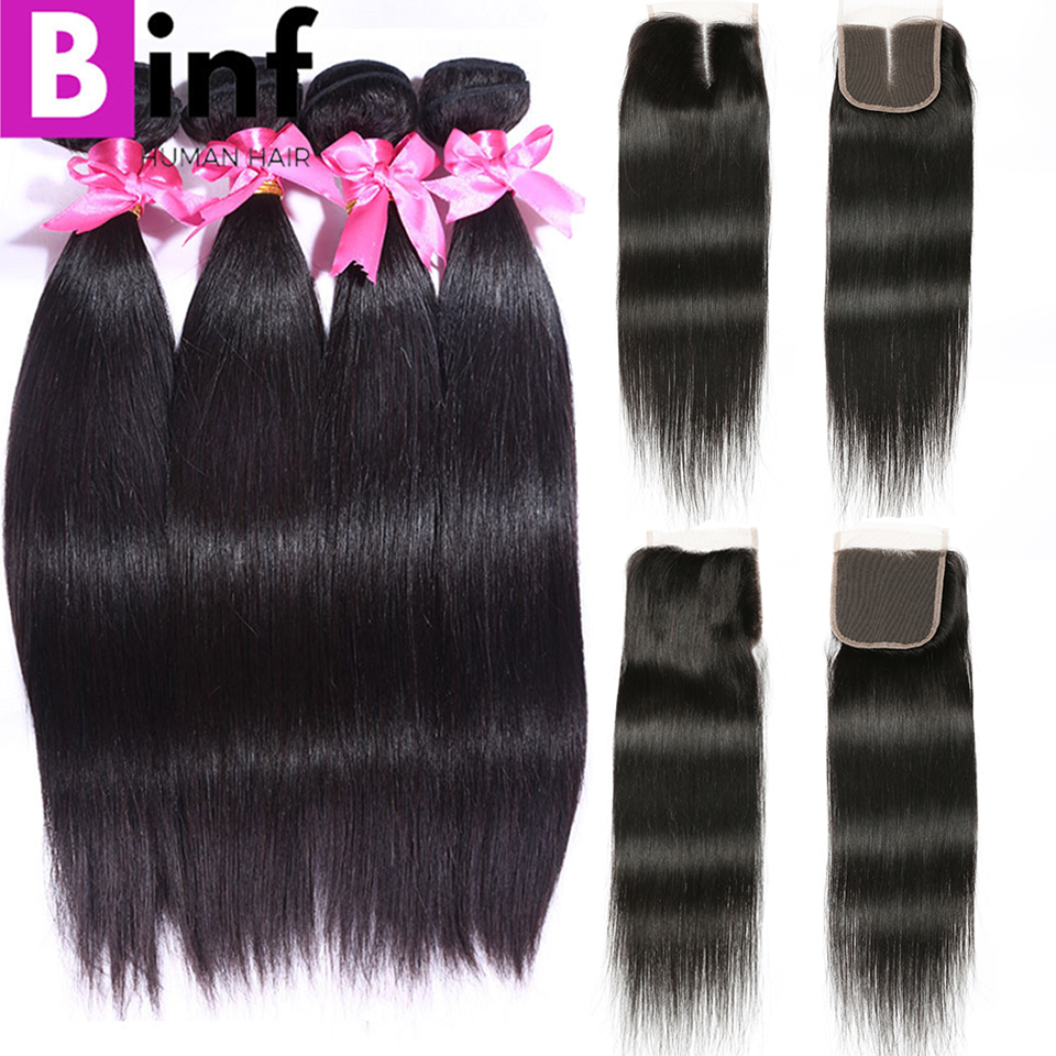 BINF Hair Indian Straight Hair 4 Bundles With Closure 100 Human Hair Bundles With Closure 4