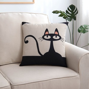 Image 2 - 1pc Geometric Cushion Cover Black White Linen Pillow Case 45x45 40x40 Cat Print Geometric Art Decorative Pillows Cover housse de