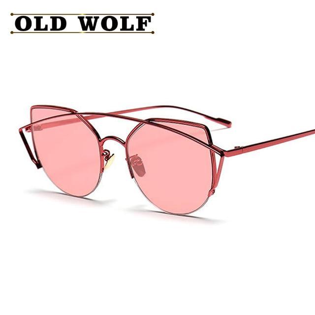 a6b4d84db3864d New Women Cat Eye Sunglasses Fashion Twin-Beams 2016 Brand Designer Coating  VISOR Mirror Sun