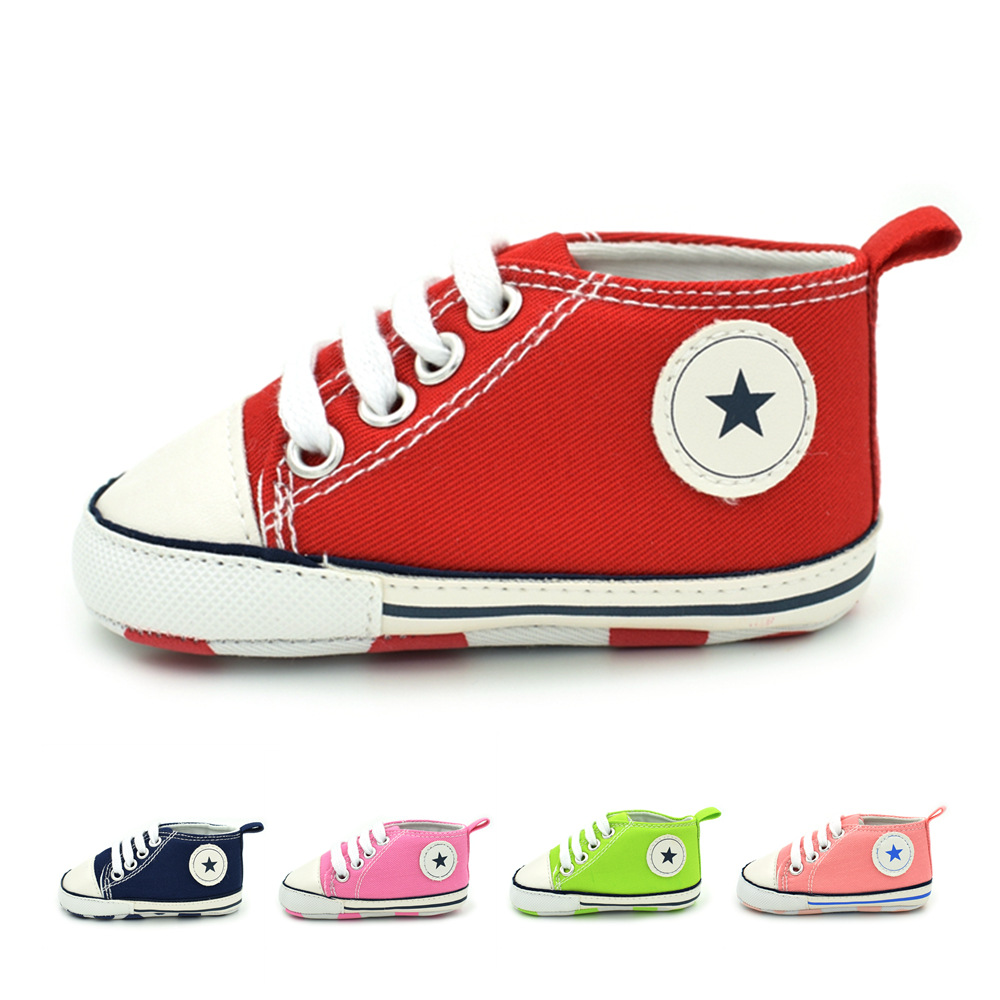 Baby shoes spring Autumn solid front tie all-match canvas baby toddler
