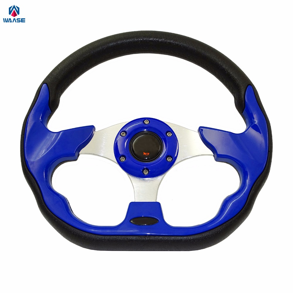 waase 320mm Universal PU Leather Racing Sports Auto Car Steering Wheel with Horn Button 12.5 inches Blue