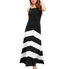 Фотография 2018 Women Summer Sexy Long Casual Dress Black White Backless Length Dress Plus Size Clothes Fashion Vestido Longo Ropa Mujer