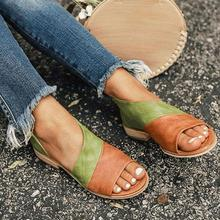 Large size single shoes female 2019 new side empty fish mouth color matching retro sandals women open toe slip on footwear