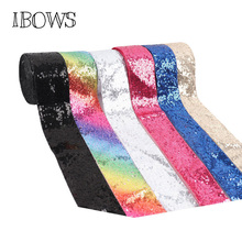 IBOWS 2yards 3 75mm Sequin Ribbon Rainbow Printed for DIY Hair Accessories Headwear Materials Wedding Party Decoration