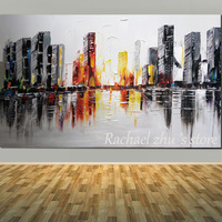 Large Hand Painted Abstract Art Cityscape Oil Painting On Canvas Building Palette Knife Wall Pictures For