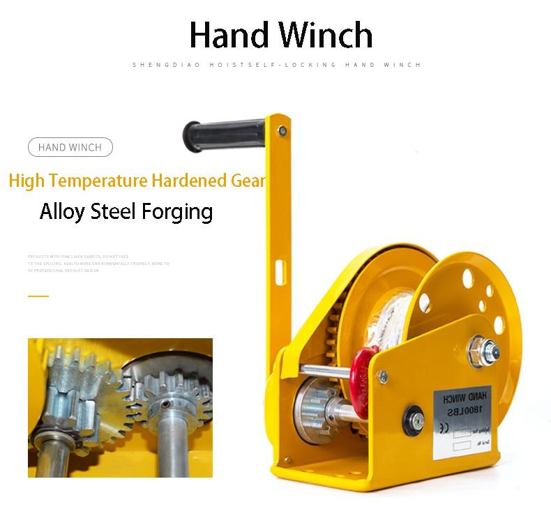 Купить с кэшбэком 1800LBS Self Locking Manual Winch With 8m Wire Rope And Hook, Hand Tool Lifting Sling Machine Hand Hoist