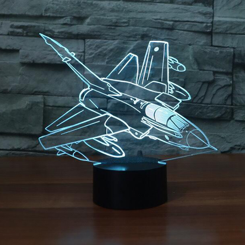 Novelty Aircraft LED Night Light 7 Colors Changing 3D Air Plane Table Lamps Kids Gifts Decor Bedside Lampara Baby Sleep Lighting