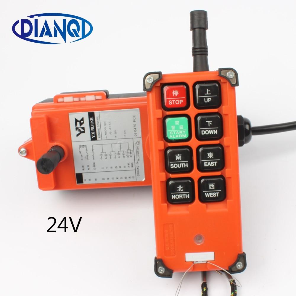 DC 24 В промышленных Беспроводной радио пульта дистанционного управления переключатель для кран 1 приемник + 1 передатчик F21-E1B