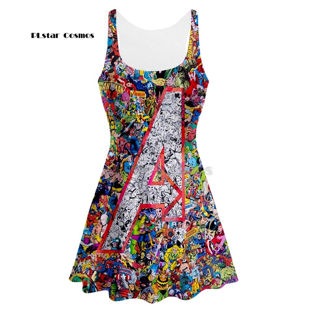 Impressão 3d marvel comic feminino verão roupas femininas tanque vestido sem mangas vestido qualidade dropshipping 3d vestido