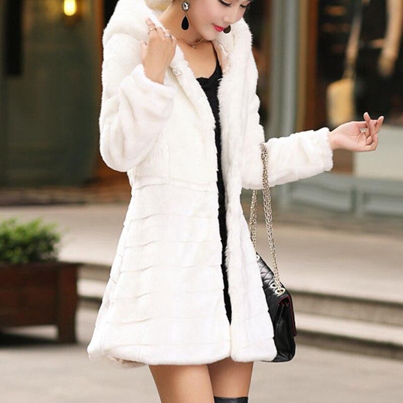 Xxxl Femme Manteau D'hiver Manteaux Les Hiver Bande Plus Lapin 5xl Taille Pardessus Pour S Fourrure La Femmes Blanc Veste noir 6xl De Faux 4xl AnnZYqR
