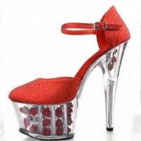 Zapato con Cierre de Flor Diseño de la Suela 15 CM Zapatos de Tacón Alto, Pole Dance Shoes, de Tacón alto Zapatos de La Boda, Zapatos de un solo