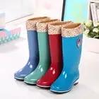 Зимние высокие резиновые сапоги; женские высокие резиновые сапоги; нескользящая водонепроницаемая и теплая резиновая обувь для дождливой погоды - 1