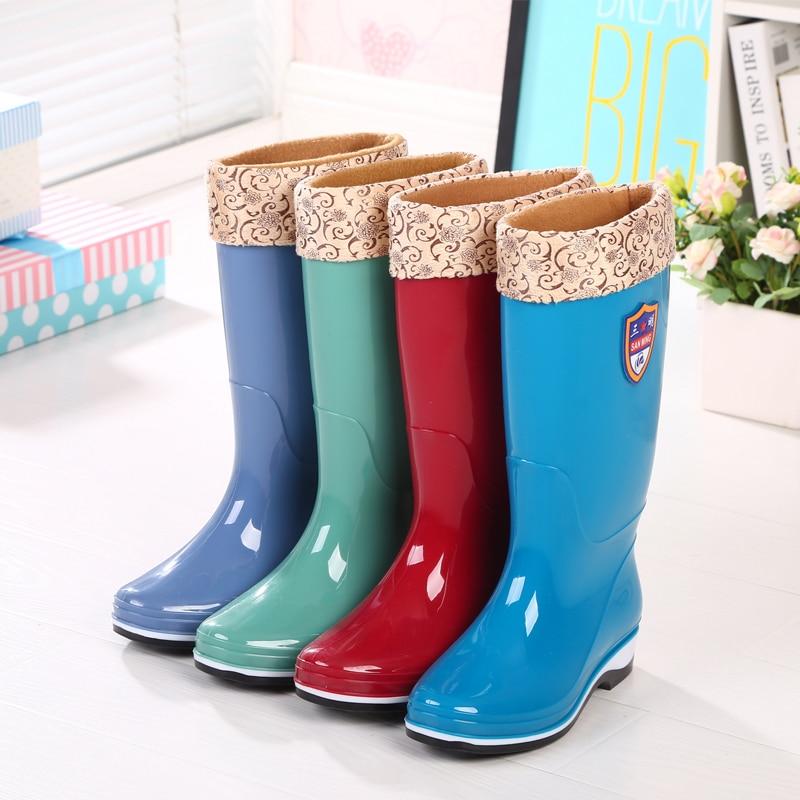Bottes de pluie hiver haut baril dame bottes d'eau longues glissantes imperméables et chaudes chaussures de pluie en caoutchouc