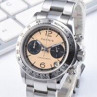 Парнис кварцевый хронограф Для мужчин Лидирующий бренд Роскошные пилот Бизнес Водонепроницаемый сапфировое стекло наручные часы Relogio