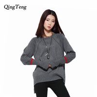 QingTeng 2017 Women Autumn Winter Cashmere Knitted Sweaters Loose Split V Neck Long Flare Sleeve Pullover