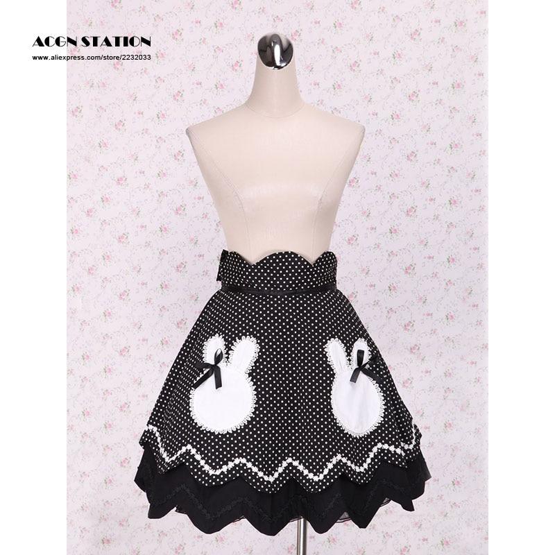 Y Lolita Bordado Bunny Polca Nueva 2016 Falda Negro Con Lunares Blancos Dulce q0TAH5