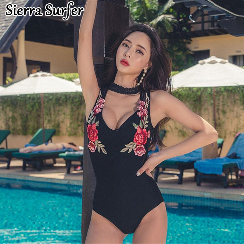 Sexy One Piece Swim Suits Lady Bikini 2018 Swimwear Female One-Piece Swimsuit Floral Embroidery Backless Mesh Plavky Damy Maio