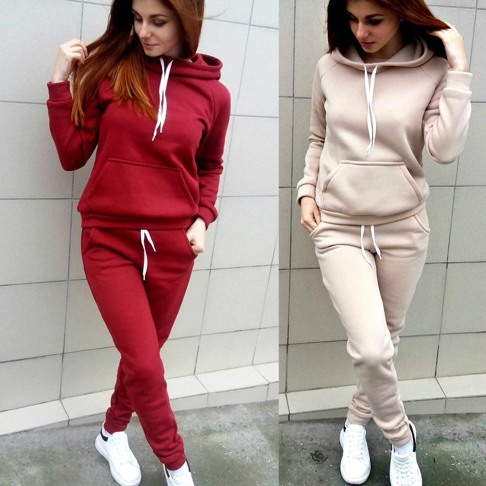 Autumn Winter Women 2 Piece Set Thick Long Sleeve Drawstring Solid Color Sportswear Ladies Girls Casual Tops + Pants HSJ