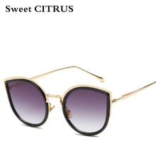 CÍTRICOS dulces de Alta Calidad Del Ojo de Gato gafas de Sol de Las Mujeres de Oro Rosa Diseñador de la marca de Moda Gafas de Sol de La Vendimia gafas de sol mujer UV400