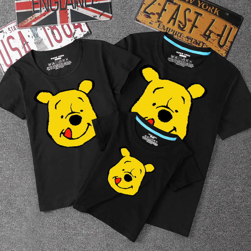 2019 Summer Cute Bear Printed Casual T Shirt  Family Look Fashion Family Matching Clothes Mother Son Dad Daughter Clothes