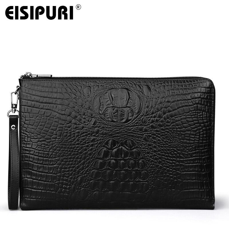 EISIPURI Men's Handbag File Bag Business A4 Envelope Bag Head Cowhide Bag Casual Crocodile Pattern Handbag Men's Leather