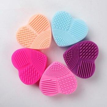 Qualität Silikon Herz Muster Pinsel Reiniger Matte Waschen Werkzeug für Kosmetische Make-Up Pinsel Wäscher Dropship Reinigung Nagel Werkzeug
