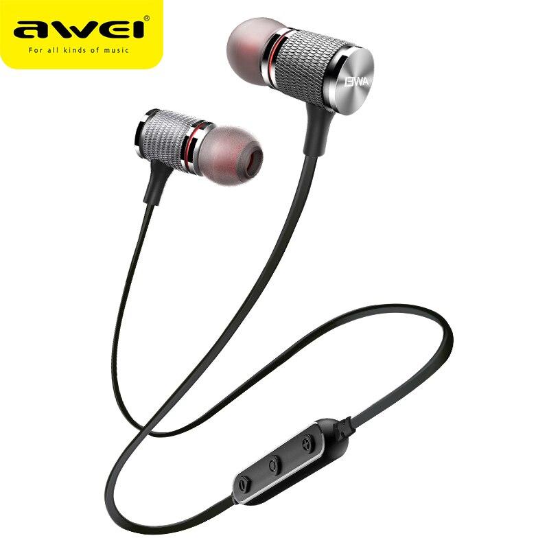 AWEI T12 auricular Bluetooth auriculares inalámbricos auriculares para teléfono deporte del auricular con micrófono Bluetooth CSR V4.2 Super Bass auricular