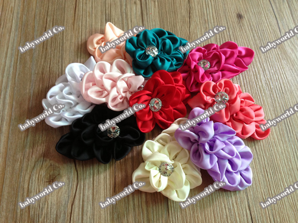 "Hair accessory 2013 new arrival 4"" Hi Quality Layers Crystal Chiffon Satin Flower For Baby Headband Girls Hat Hair DIY flat back"