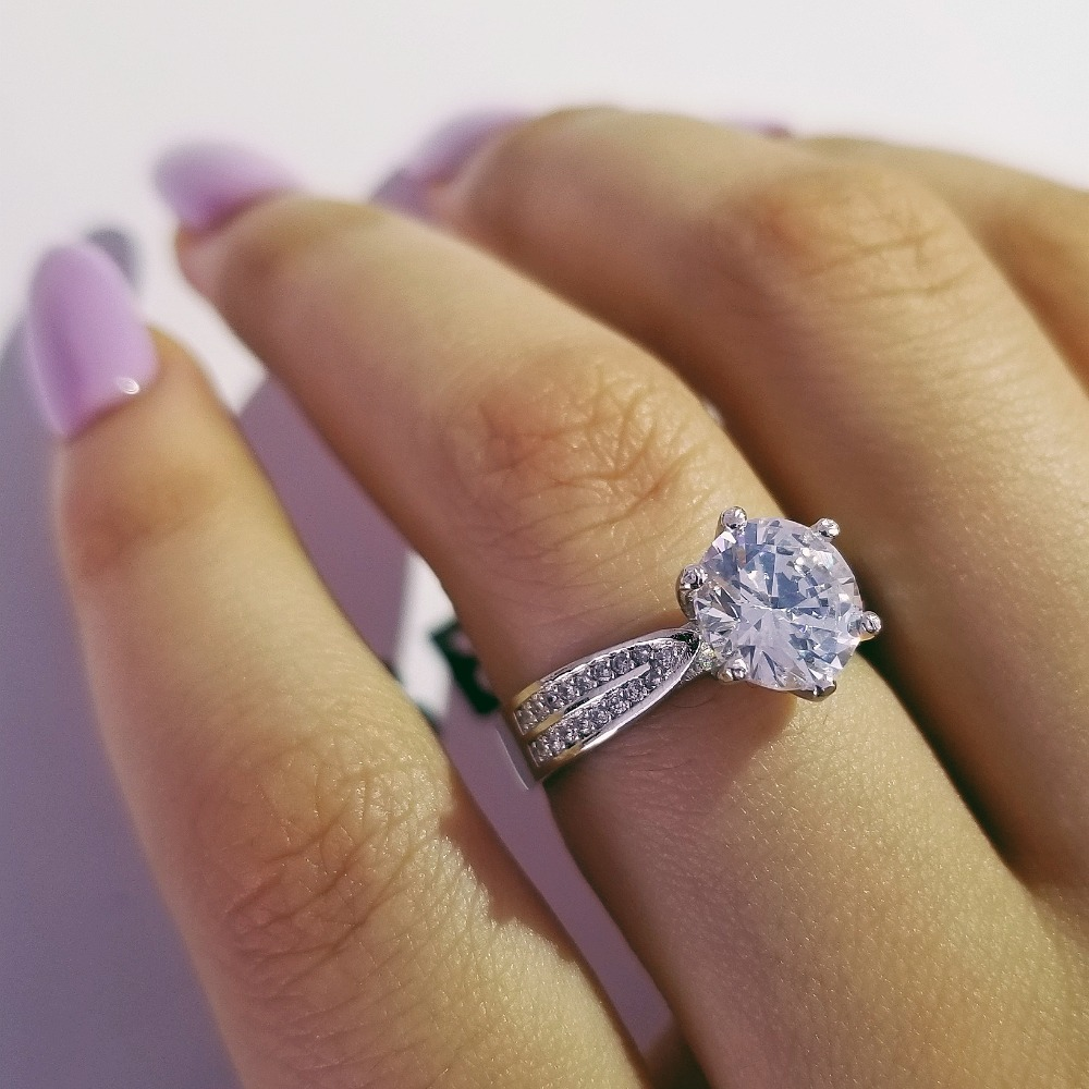 Nyata Asli 925 Sterling Silver Rings Putaran Cut Wedding Rings Untuk - Perhiasan fashion - Foto 2