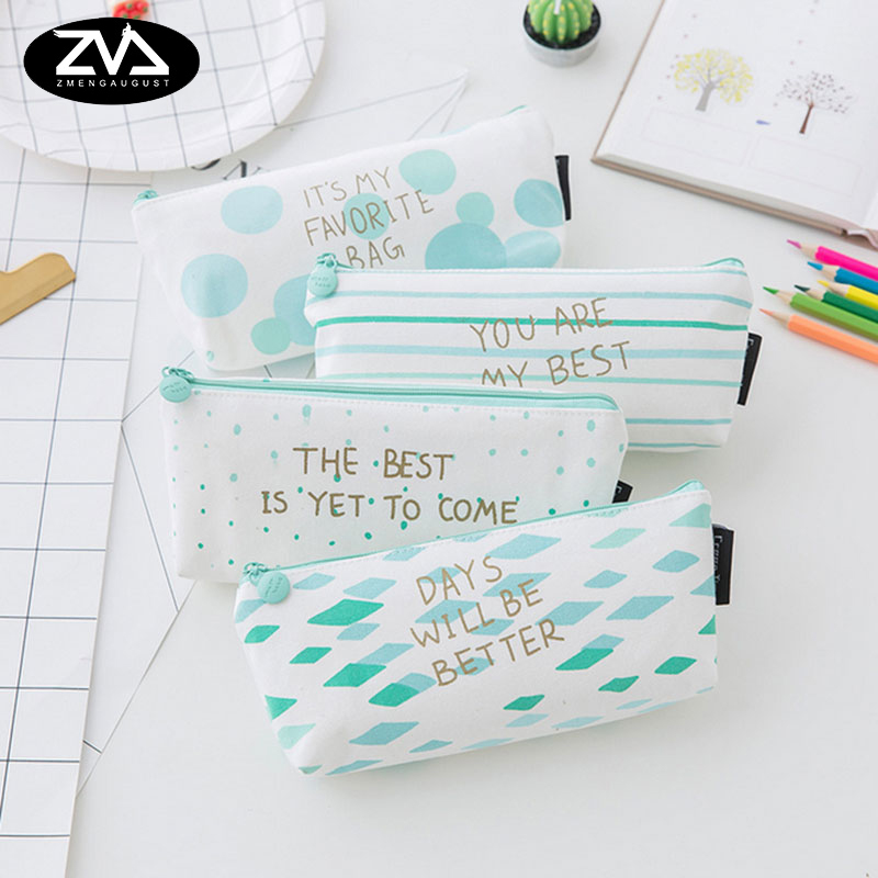1x korean Geometric pen bag kawaii pencil bag big capacity PU stationery cute pencil box Pencil case School office Supplies cute kawaii pencil case school pencil bag korean stationery pu leather pen bags box for boys girls
