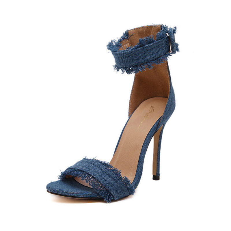 Women Pumps 2017 New Fashion High Heels Shoes Wedding Women Shoes Chaussure Femme Denim High-Heeled Sandals Zapatos Mujer 35-40 2017 new spring summer shoes for women high heeled wedding pointed toe fashion women s pumps ladies zapatos mujer high heels 9cm