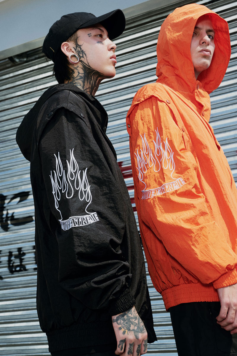 Sleeve Fire Flame Embroidered Pullover Hoodie 16