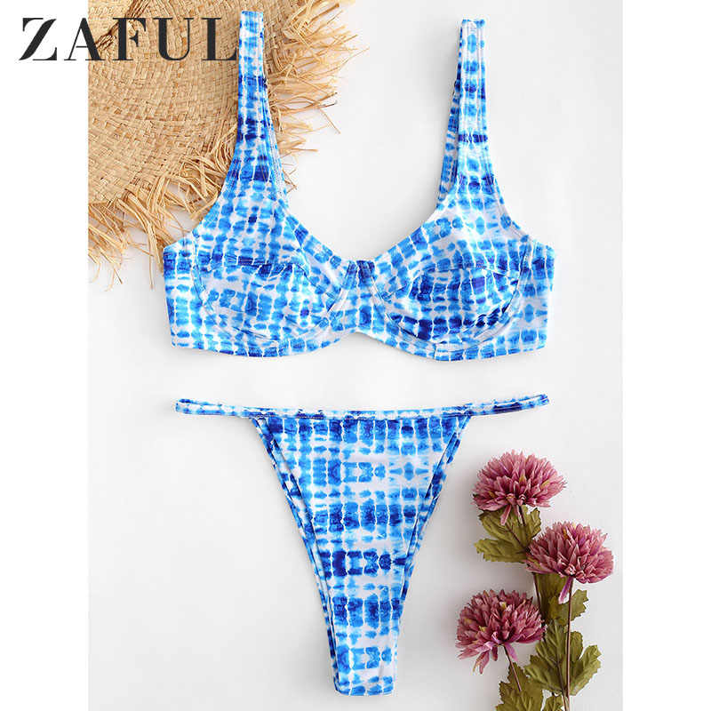 ZAFUL Tie Dye stringi kobiety Bikini Set Halter wyściełana Camis wysokiej talii strój kąpielowy na plaży kobiet stroje kąpielowe strój kąpielowy Biquinis