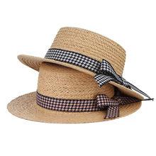 Dama de la moda sombreros de paja rafia para las mujeres houndstooth  bowknots plana Sol verano Sombreros de playa femenina Sombr. 59b316d1574