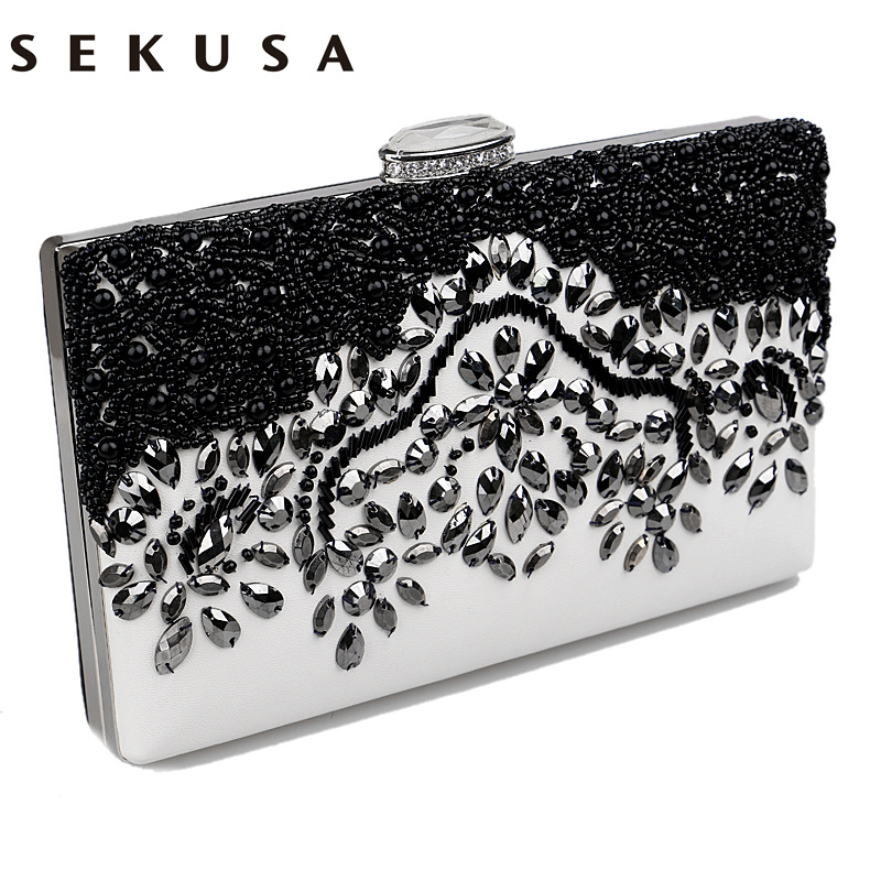 SEKUSA Pu Women Messenger Chain Shoulder Handbags Beaded Handmade Style Metal Diamonds Evening Bags Leather Fashion Purse Bags sekusa pu fashion women diamonds luxurious evening bags clutch messenger shoulder chain handbags purse beaded wedding bag