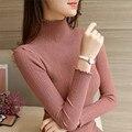 2017 Новая Зимняя женская свитер основной пуловеры рубашка тонкий свитер сплошной цвет свитер с длинным рукавом топ XY1037