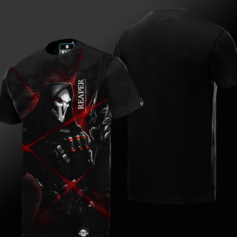 High Quality Blizzard Reaper Hero T-shirt OW Game Limited Edion Black xxxxl Plus Size T-shirt Men Boy Cool Cotton Tee Shirt