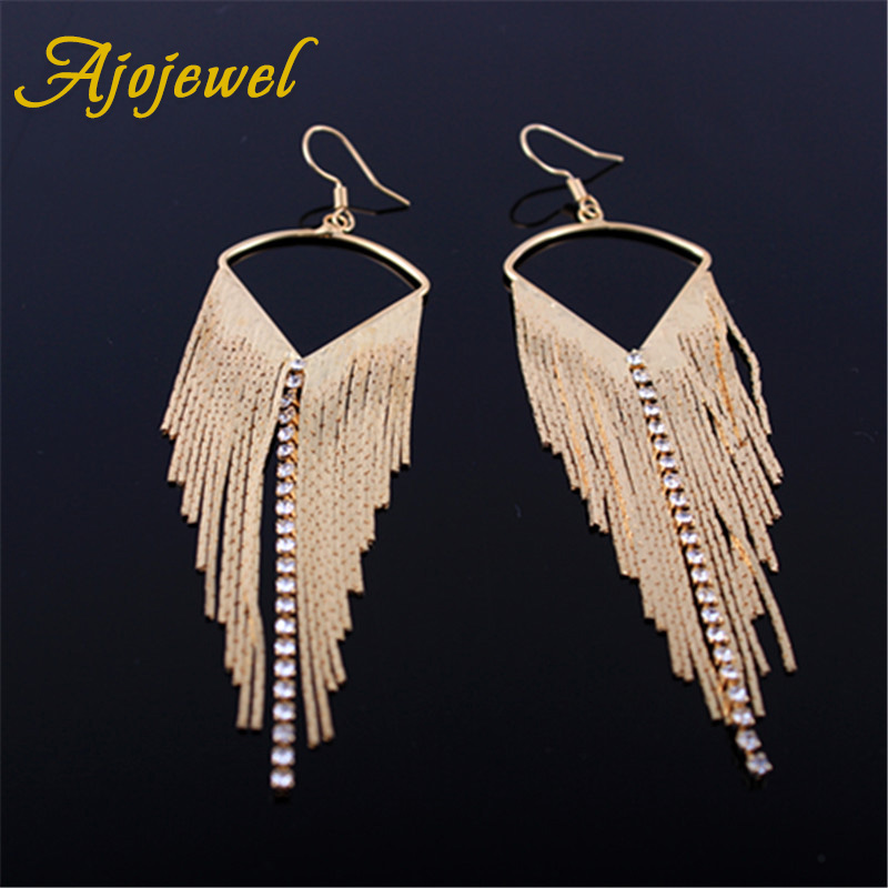 Ajojewel Statement Big Punk Earrings Rhinestone Long Drop Dangle Earrings For Women Jewelry Fashion Jewelry pair of graceful rhinestone triangle earrings jewelry for women